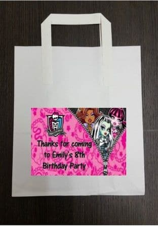 4 x Monster High Birthday Party Bags with Personalised Sticker