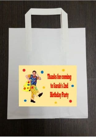 4 x Mr Tumble Birthday Party Bags with Personalised Sticker