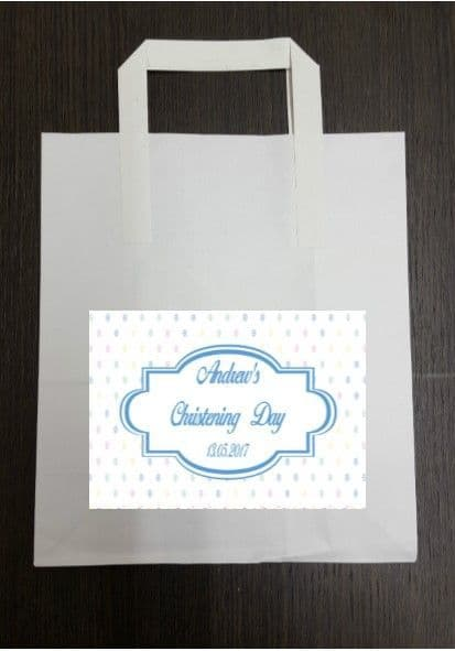 4 x Multicoloued Blue Party Bags with Personalised Sticker