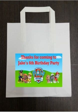 4 x Paw Patrol Birthday Party Bags with Personalised Sticker