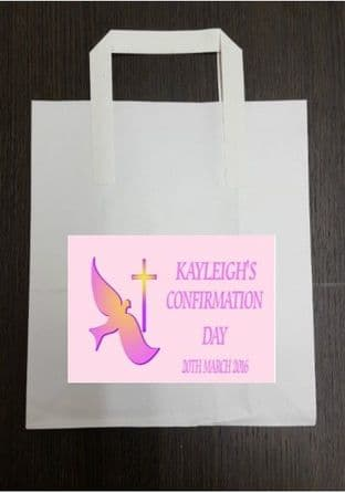4 x Pink Confirmation Party Bags with Personalised Sticker Design 2
