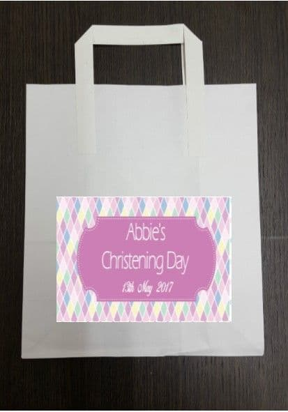 4 x Pink Diamond Design Party Bags with Personalised Sticker