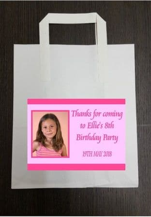 4 x Pink Photo Birthday Party Bags with Personalised Sticker