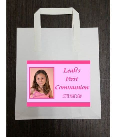 4 x Pink Photo Communion Party Bags with Personalised Sticker
