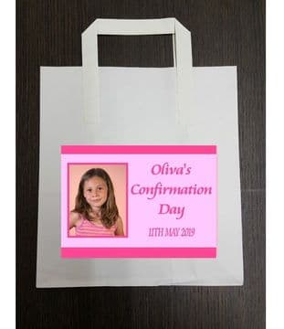 4 x Pink Photo Confirmation Party Bags with Personalised Sticker
