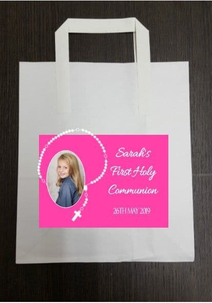 4 x Pink Rosary Beads Photo Communion Party Bags with Personalised Sticker