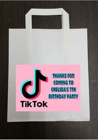 4 x Pink Tiktok Birthday Party Bags with Personalised Sticker