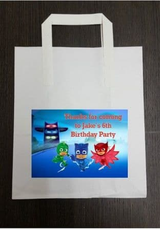 4 x PJ Masks Birthday Party Bags with Personalised Sticker