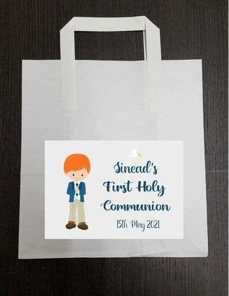 4 x Red Hair Boy Communion Party Bags with Personalised Sticker 2