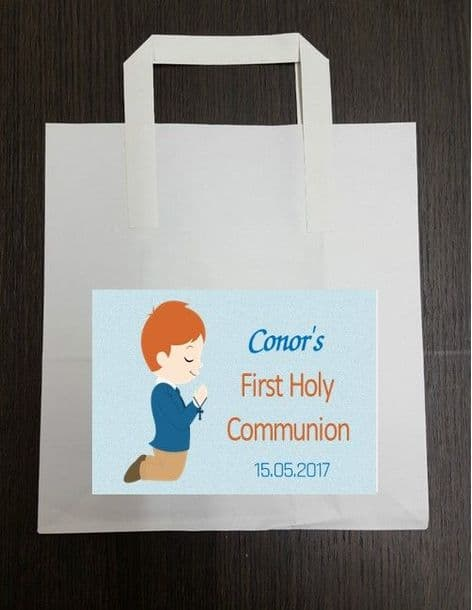 4 x Red Hair Boy Communion Party Bags with Personalised Sticker