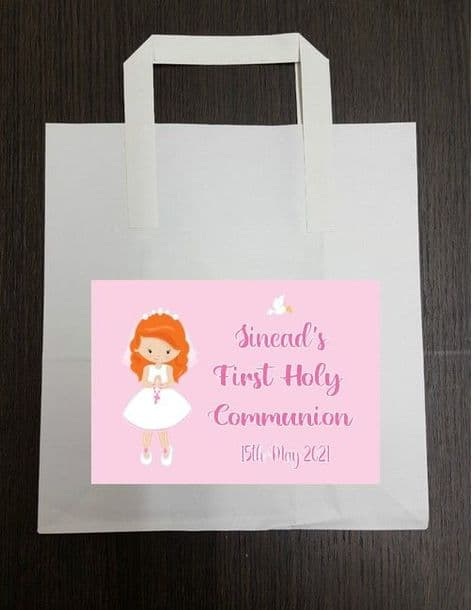 4 x Red Hair Girl Communion Party Bags with Personalised Sticker 2