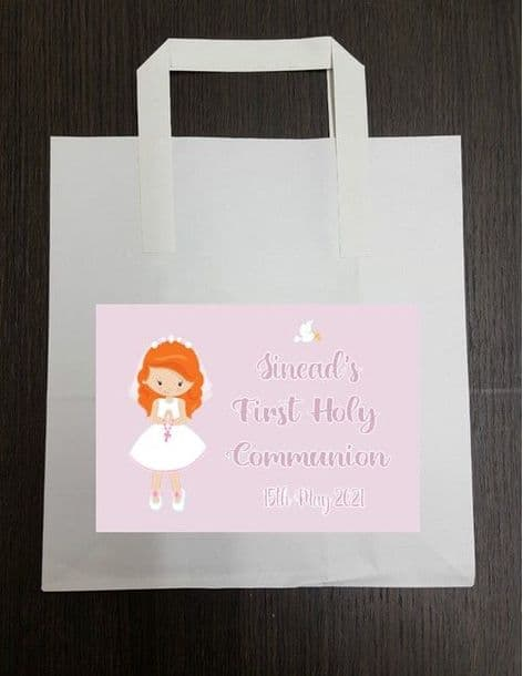 4 x Red Hair Girl Communion Party Bags with Personalised Sticker 3