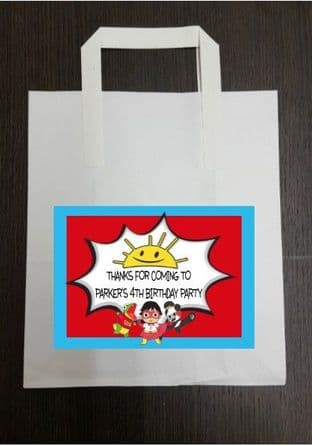 4 x Ryans World Birthday Party Bags with Personalised Sticker