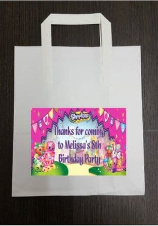 4 x Shopkins Birthday Party Bags with Personalised Sticker