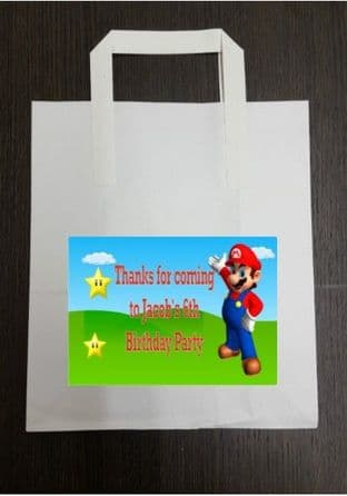 4 x Super Mario Birthday Party Bags with Personalised Sticker