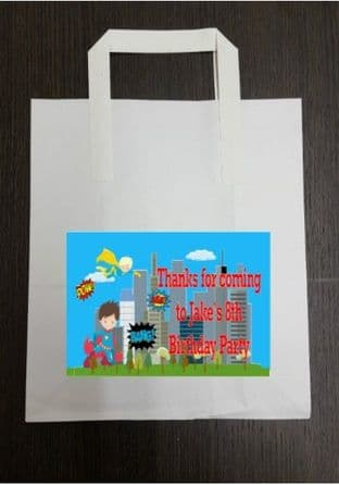 4 x Superhero Birthday Party Bags with Personalised Sticker
