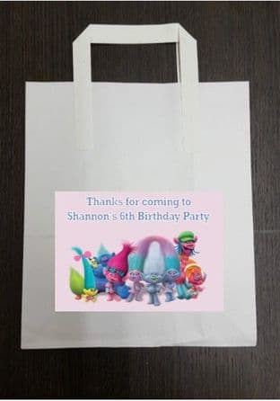4 x Trolls Birthday Party Bags with Personalised Sticker