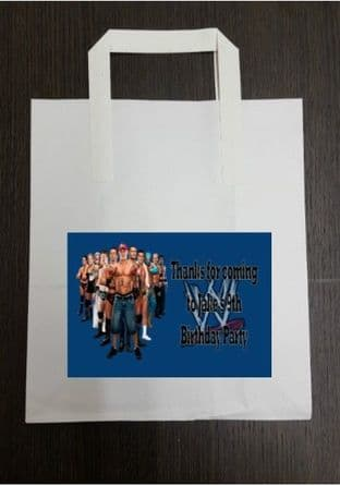 4 x Wrestlemania WWE Birthday Party Bags with Personalised Sticker