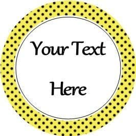 Any Occasion Your Text Stickers Yellow Black Polka Dot