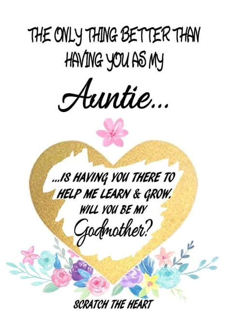 Auntie Godmother Reveal Card