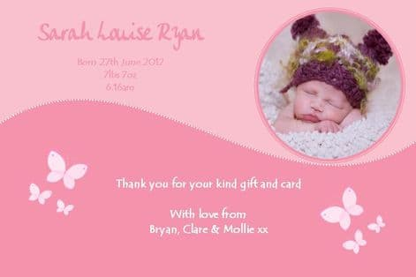 Birth Announcement / Thank You Card Girl Design 2