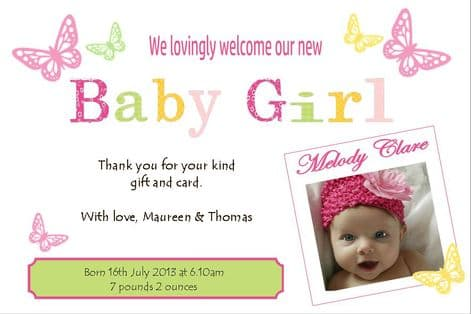 Birth Announcement / Thank You Card Girl Design 3