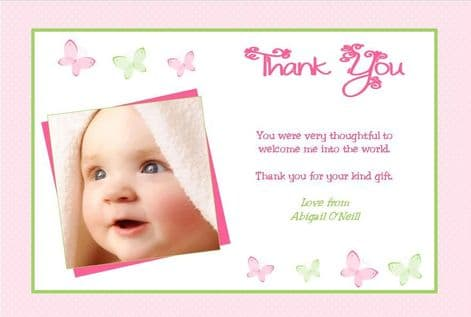 Birth Announcement / Thank You Card Girl Design 4