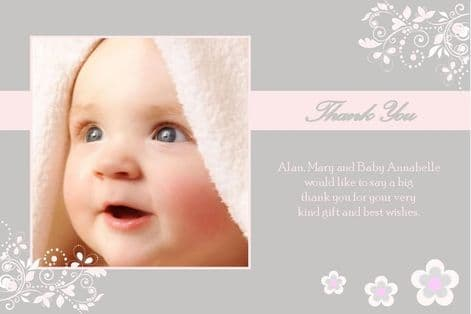 Birth Announcement / Thank You Card Girl Design 5