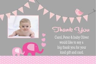 Birth Announcement / Thank You Card Girl Design 7