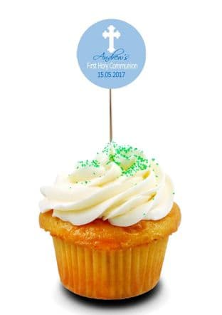Blue Communion Cupcake Picks/Toppers Design 4