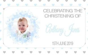 Blue Floral Border Photo Christening Chocolate Candy Bar Wrapper