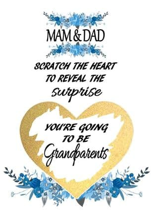 Blue flower Grandarents pregnancy reveal card Design 2