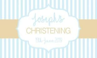 Blue & Gold Stripe Christening Chocolate Bar Wrapper