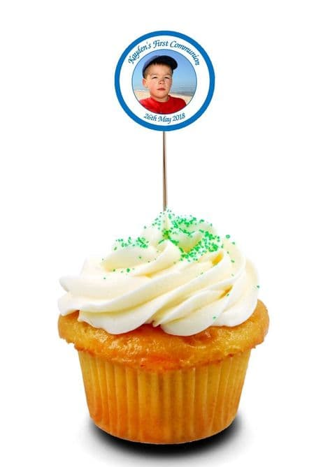 Blue Photo Communion Cupcake Picks/Toppers