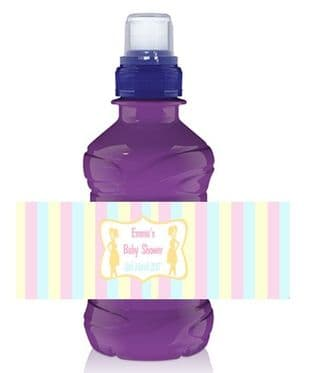 Blue Pink Lemon Stripe Baby Shower Bottle Wrapper
