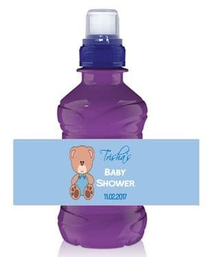 Blue Teddy Baby Shower Bottle Wrapper