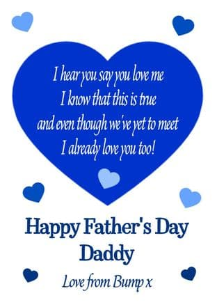 Blue To Daddy from Bump/Baby Father's Day Card