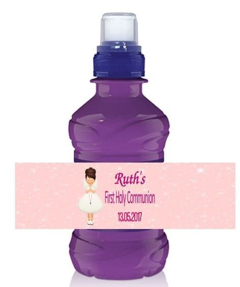 Brown Hair Girl Communion Bottle Label Wrapper