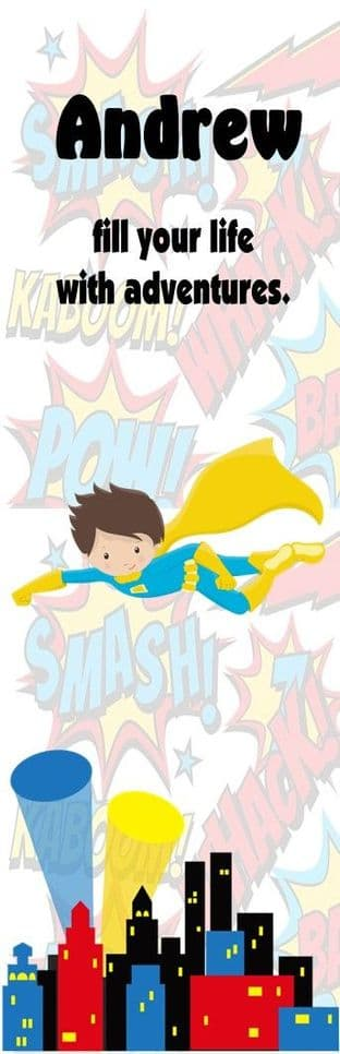 Brown Hair Superhero Boy Bookmark