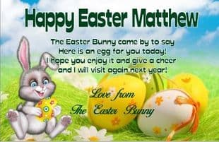 Calling Card from The Easter Bunny