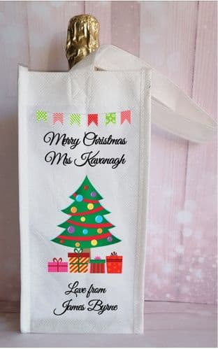 Christmas Tree Theme Bottle Bag