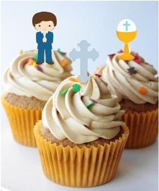Communion Blue Stand Up Cupcake Toppers