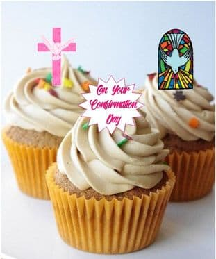 Confirmation Pink Stand Up Cupcake Toppers