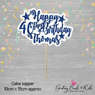 Dark Blue Glitter Text Birthday Cake Topper