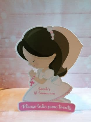 Girl Communion Free Standing Table Sign