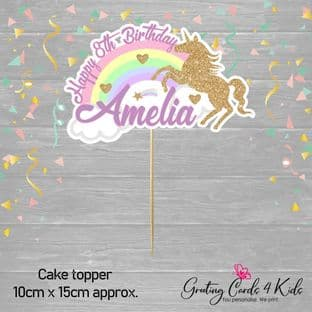 Glitter Unicorn Cake Topper