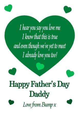 Green To Daddy from Bump/Baby Father's Day Card