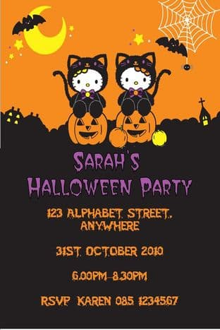 Hello Kitty Halloween Invitation Design 1