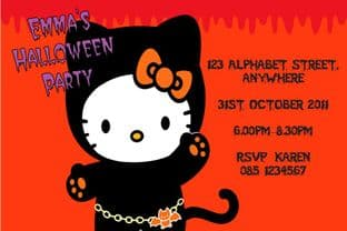 Hello Kitty Halloween Invitation Design 2
