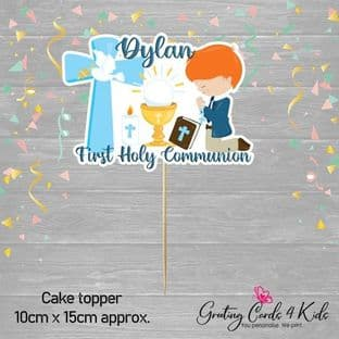 Kneeling Red Hair Boy Communion Cake Topper